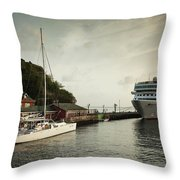 Cruise Ship At Port, Kingstown, Saint Throw Pillow