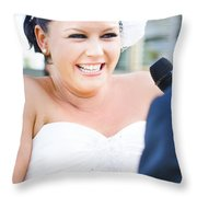 Crying And Laughing Bride Throw Pillow