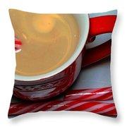Cup Of Christmas Cheer - Candy Cane - Candy -  Irish Cream Liquor Throw Pillow
