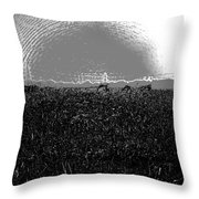 Cut And Dried Grass Along With Growing Grass Throw Pillow