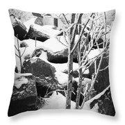 Cut Stone Blocks Backyard Snow Aberdeen South Dakota 1965 Black And White Throw Pillow