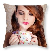 Cute Brunette Woman Drinking Hot Coffee Indoors Throw Pillow
