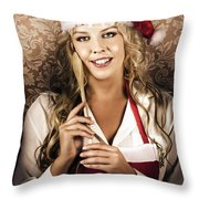 Cute Vintage Housewife Cooking Christmas Meal Throw Pillow