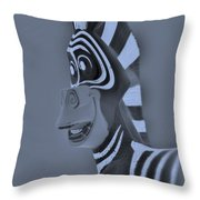 Cyan Zebra Throw Pillow