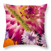 Dahlia Zinnia Bachelor's Buttons Flowers Throw Pillow