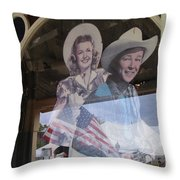 Dale Evans Roy Rogers Cardboard Cut-outs Flag Reflection Helldorado Days Tombstone 2004 Throw Pillow
