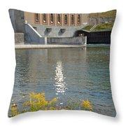 Dam Reflection Throw Pillow