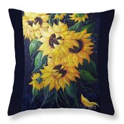 Dancing Sunflowers  Throw Pillow