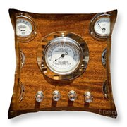 Dashboard In A Classic Wooden Boat Throw Pillow