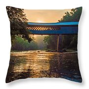Dawn At Swann Bridge Throw Pillow