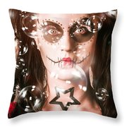Day Of The Dead Girl Blowing Party Bubbles Throw Pillow
