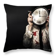 Dead Business Person Holding End Of Time Clock Throw Pillow