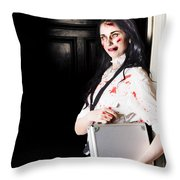 Dead Female Zombie Worker Holding Briefcase Throw Pillow