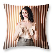 Dead Set Business Woman Ready With Thumbs Up Throw Pillow