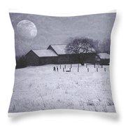 December Moonrise Farmstead Throw Pillow