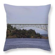 Deception Pass Bridge Throw Pillow