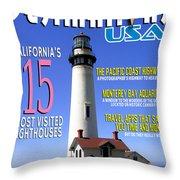 Destinations Usa Faux Magazine Cover Throw Pillow