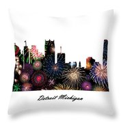 Detroit Michigan Fireworks Skyline Throw Pillow