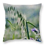 Dew Drops On Grass Throw Pillow