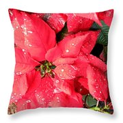 Diamond Encrusted Poinsettias Throw Pillow