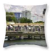 Digital Oil Painting - Visitors On Viewing Plaza On Singapore River Next To The Merlion Throw Pillow
