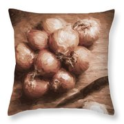Digital Painting Of Brown Onions On Kitchen Table Throw Pillow