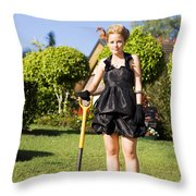 Do It Yourself Gardening Lady Throw Pillow