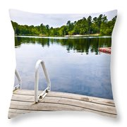 Dock On Calm Lake In Cottage Country Throw Pillow