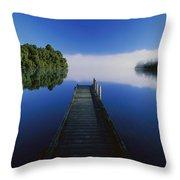 Dock On Lake Mapourika Throw Pillow