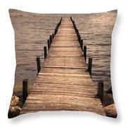 Dock On Mountain Lake Throw Pillow
