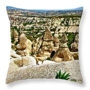 Dog Looking At Fairy Chimneys In Cappadocia-turkey Throw Pillow