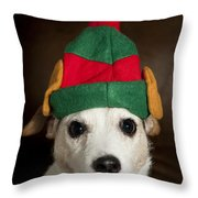 Dog Wearing Elf Ears, Christmas Portrait Throw Pillow
