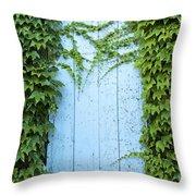 Door Framed By Plants Throw Pillow