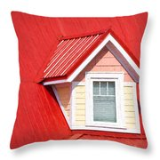 Dormer Window On Red Roof Throw Pillow