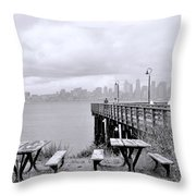 Downtown Seattle As Seen From Alki Beach Throw Pillow