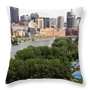 Downtown Skyline Aerial Of St. Paul Minnesota Throw Pillow