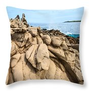Dramatic Lava Rock Formation Called The Dragon's Teeth In Maui. Throw Pillow
