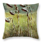 Dried Up Sunflower Patch Throw Pillow