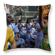 Drummer Team Performing At The 2009 Cleansing Of 46th Street Throw Pillow