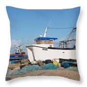 Dungeness Fishing Boats Throw Pillow
