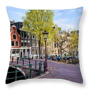 Dutch Canal Houses In Amsterdam Throw Pillow