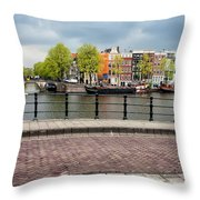 Dutch Houses By The Amstel River In Amsterdam Throw Pillow
