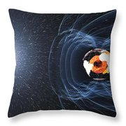 Earths Magnetic Field Throw Pillow