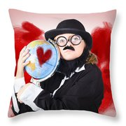 Eccentric Man Showing World Love By Cuddling Globe Throw Pillow