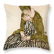 Edith With Striped Dress Sitting Throw Pillow