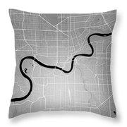 Edmonton Street Map - Edmonton Canada Road Map Art On Colored Ba Throw Pillow