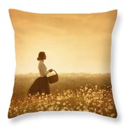 Edwardian Woman In A Meadow At Sunset Throw Pillow