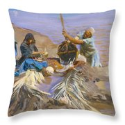Egyptians Raising Water From The Nile Throw Pillow