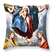 El Greco's Madonna And Child With Saint Martina And Saint Agnes Throw Pillow