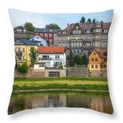 Elbe River Town Throw Pillow